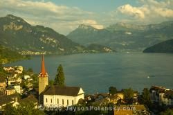 The town of Weggis on Lake Lucerne, Switzerland