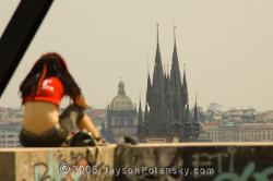 Over looking  the gothic T�n Cathedral in Old Town Square